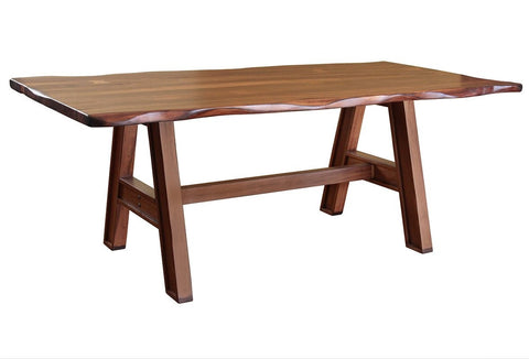 "Granville Parota 79"" Dining Table - Trestle Wood Base"