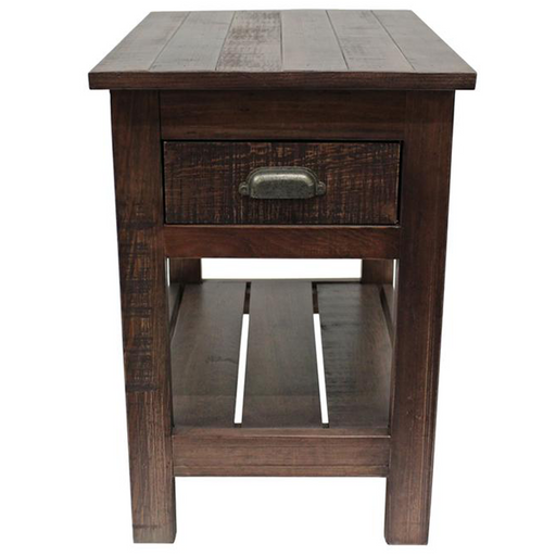Emerson 1 Drawer Side Table - Rustic Walnut - Crafters and Weavers
