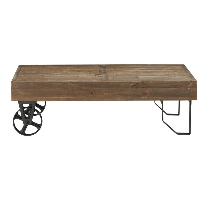 Harding Reclaimed Wood Industrial Cart Coffee Table