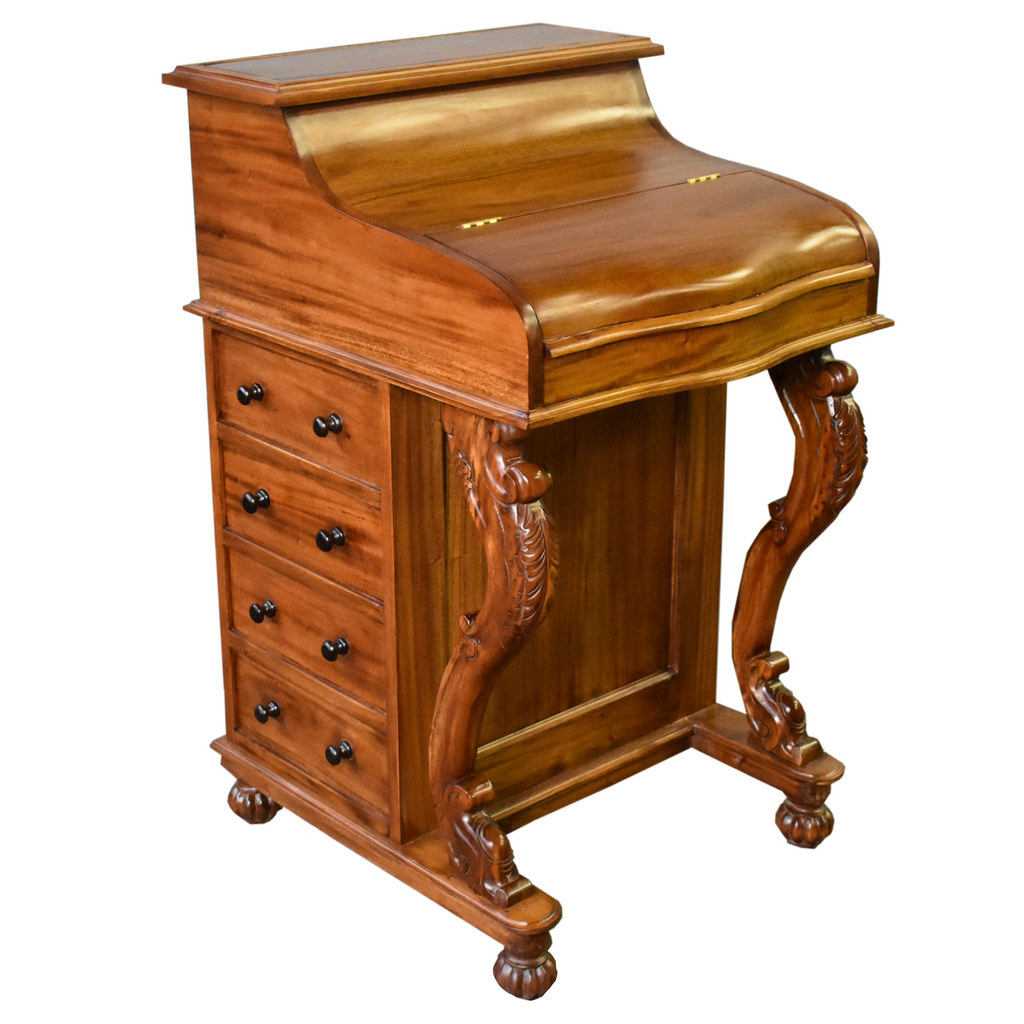 Legacy Mahogany Wood Captain's Desk - Light Brown Walnut