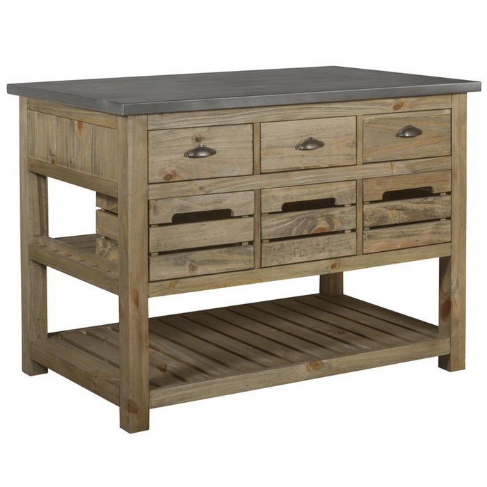 Barlow Crate Kitchen Island - Rustic Pine and Zinc Top