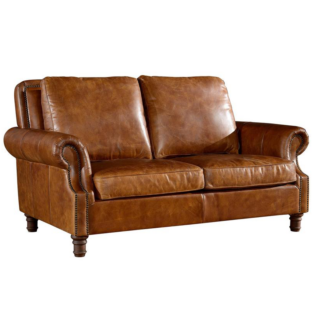 English Rolled Arm Love Seat - Light Brown Leather