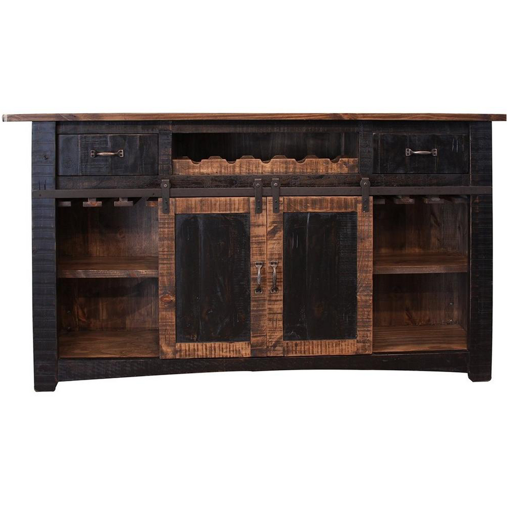 Greenview Bar Counter - Distressed Black