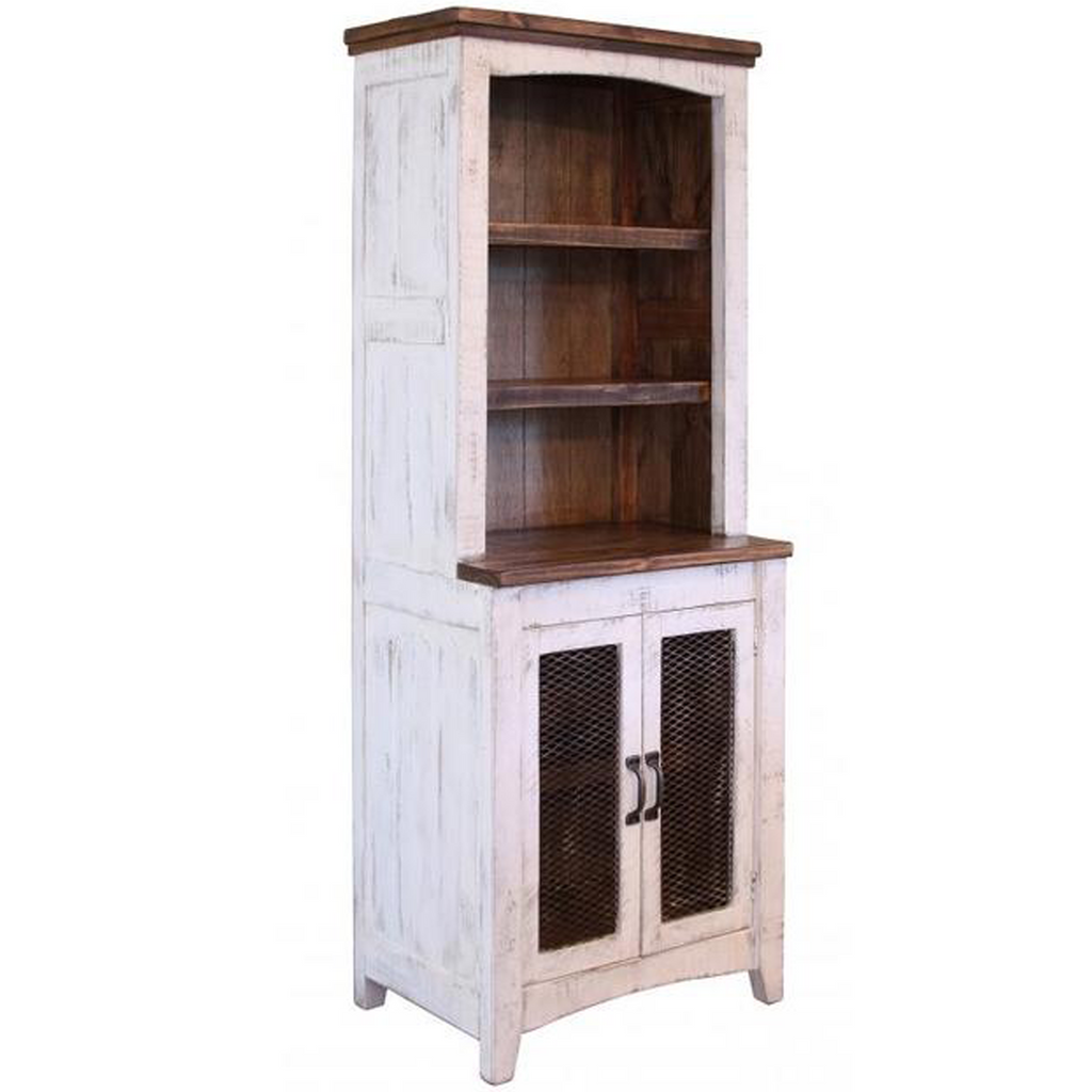 Greenview Mesh Door Bookcase - Distressed White