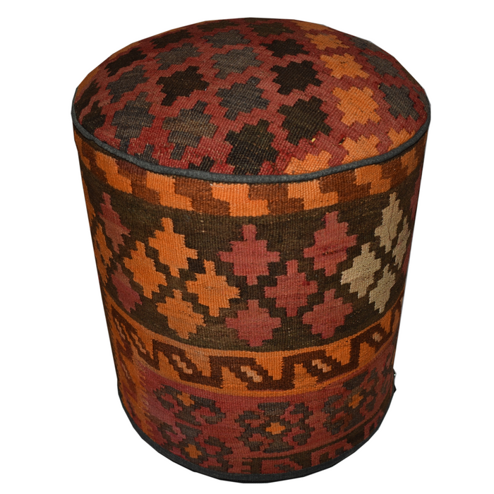 One of a Kind Kilim Rug Pouf Ottoman foot stool - #92