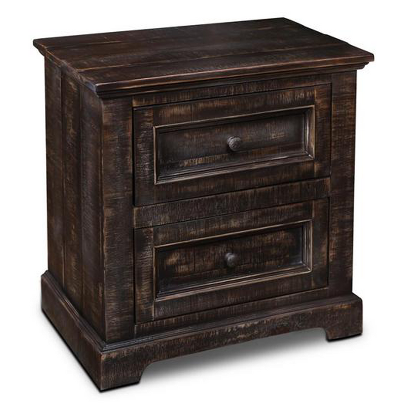 Onyx 2 Drawer Rustic End Table