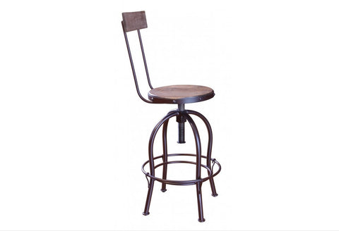 Bayshore Adjustable Height Bar Stool with Backrest