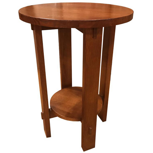 Mission Style Oak Round End Table - Golden Brown - Crafters and Weavers