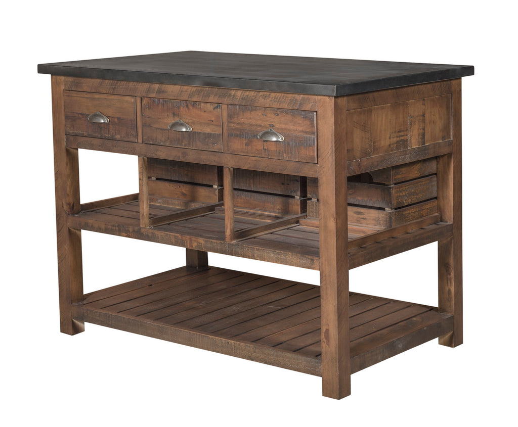 Barlow Crate Kitchen Island with Zinc Top - Rustic Brown