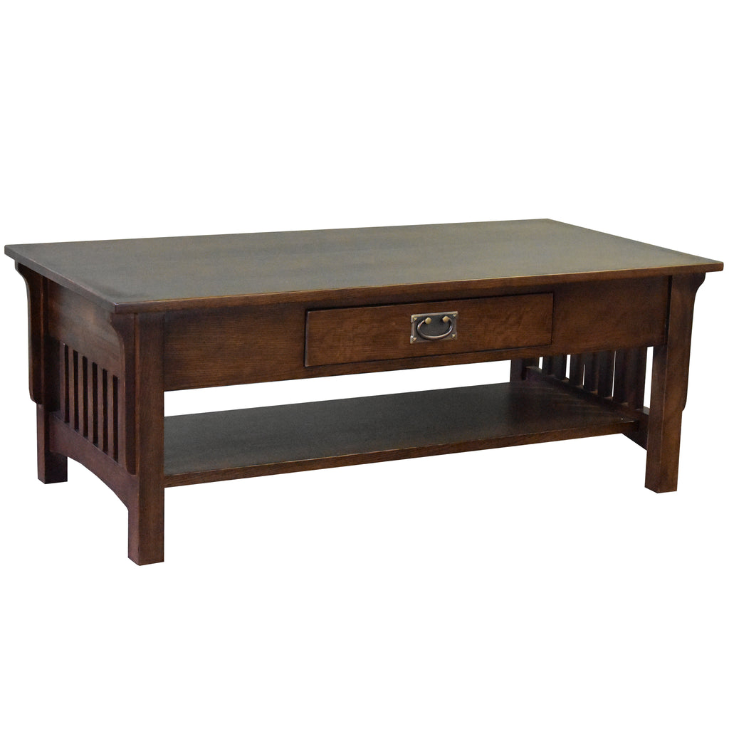 Mission Crofter Style 1 Drawer Coffee Table - Walnut Stain