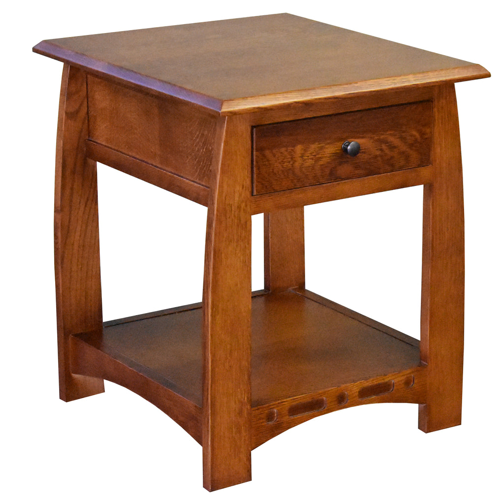 Mission Quarter Sawn White Oak 1 Drawer Inlay End Table - Model A24