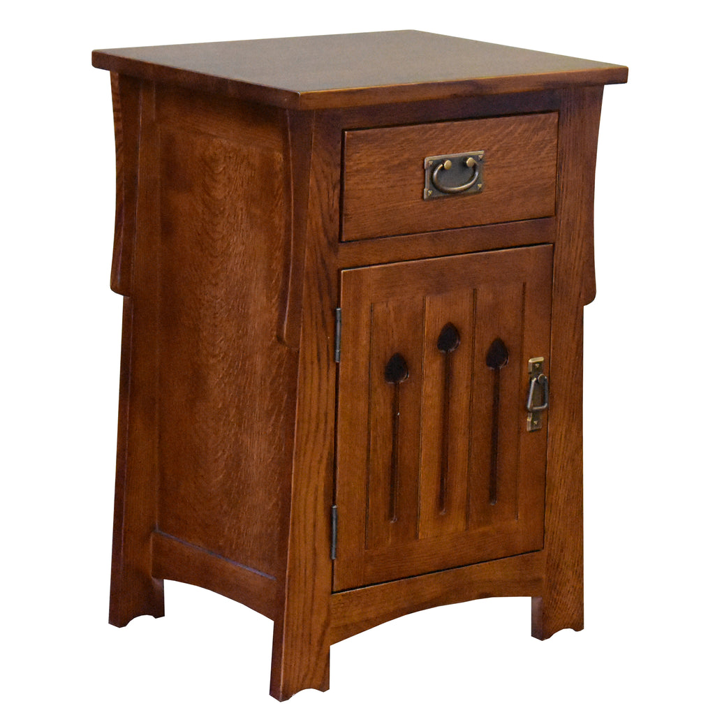 Mission Style Solid Quarter Sawn Oak Keyhole Nightstand - Model A26