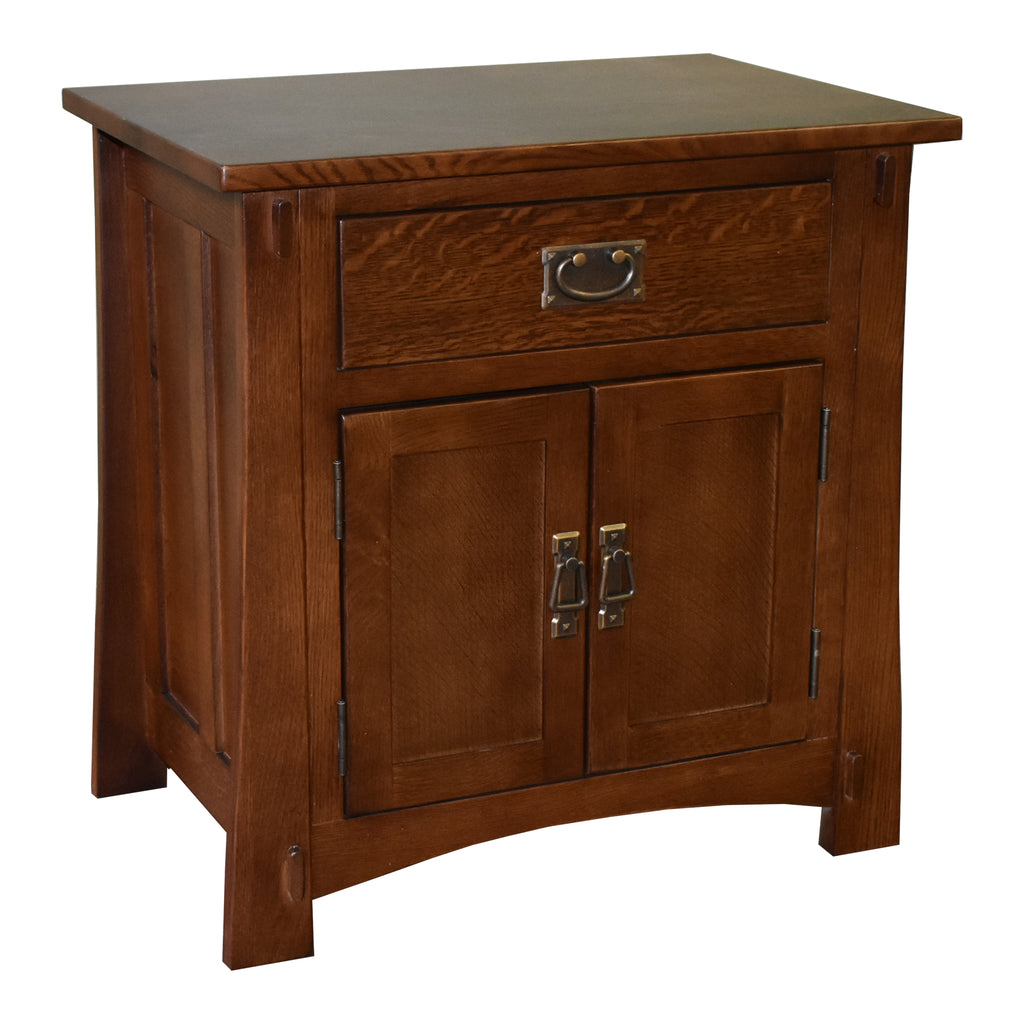 Mission Style Solid Oak Nightstand Model A3 - Walnut Stain