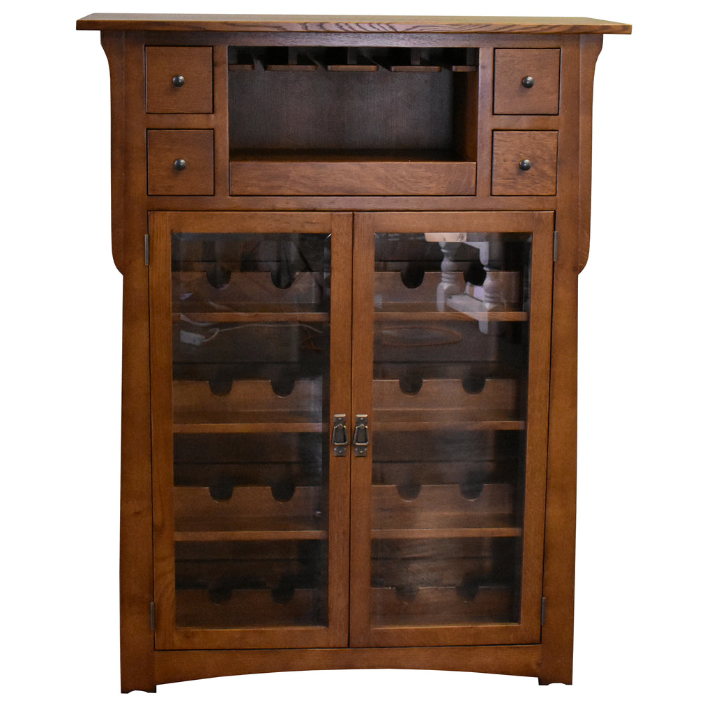 Mission / Arts and Crafts Quarter Sawn White Oak Wine Cabinet