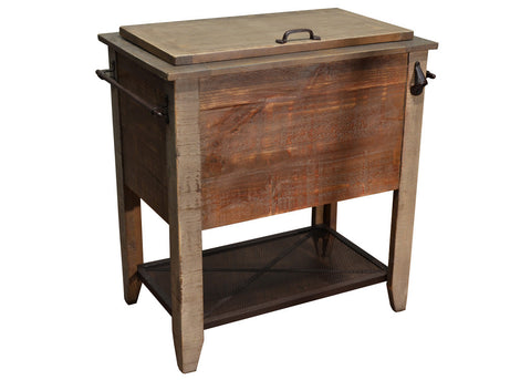 Bayshore Distressed Wood Cooler / Bar Cabinet - Crafters & Weavers - 1