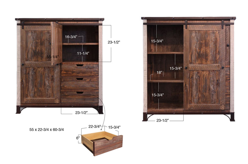Bayshore Farmhouse Gentleman's Chest / Armoire 55''