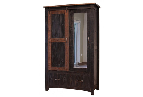Greenview Wardrobe Armoire - Distressed Black