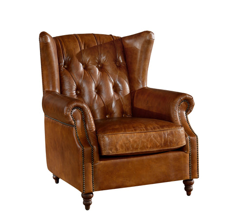 Tufted Leather English Rolled Arm Wing Chair - Light Brown Leather