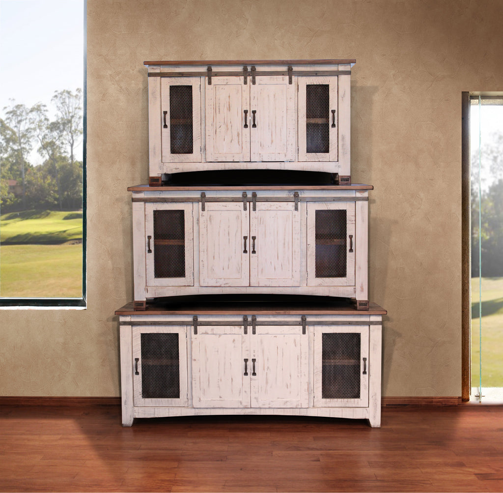 Greenview Sliding Door Distressed White Tv Stand 80 Inch