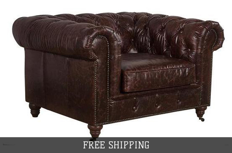 Century Chesterfield Arm Chair - Reddish Brown Leather