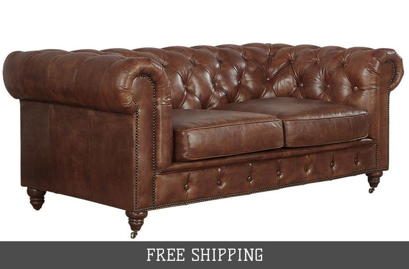 Century Chesterfield Love Seat - Medium Brown Leather