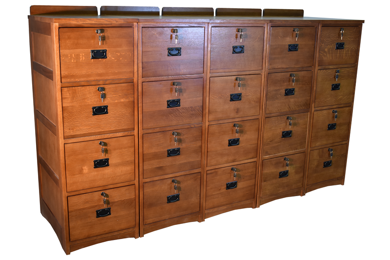 Mission Solid Oak 4 Drawer File Cabinet