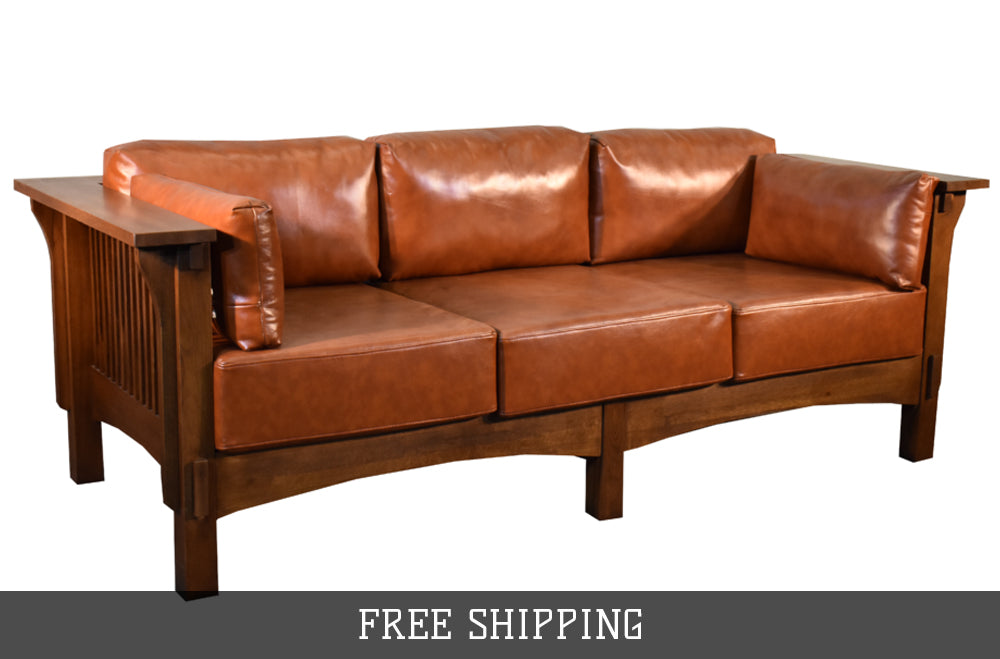 Crofter Style Sofa - Light Brown Leather