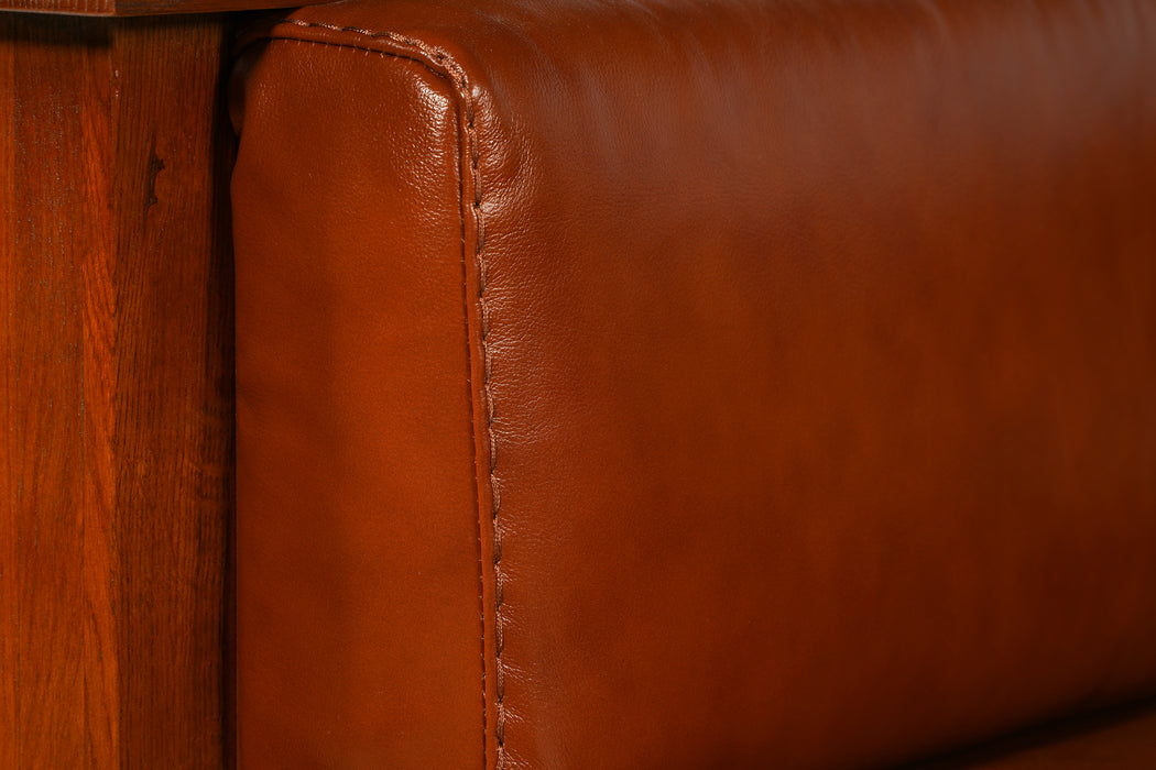 Arts and Crafts / Craftsman Cubic Panel Side Arm Chair - Russet Brown Leather (RB2)