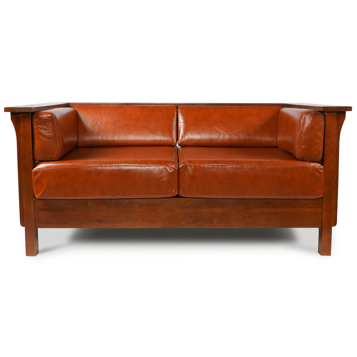 Arts and Crafts / Craftsman Cubic Slat Side Love Seat - Russet Brown Leather (RB2)