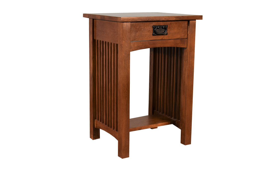 Mission Solid Quarter Sawn Oak 1 Drawer Spindle End Table