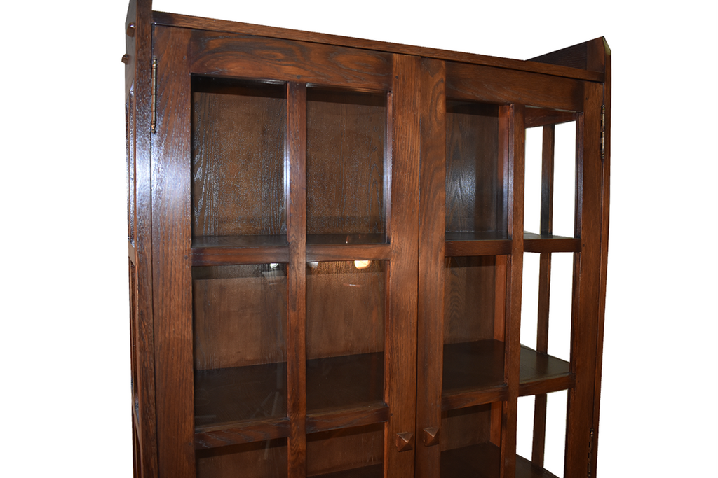Mission Style Solid Quarter Sawn Oak China Cabinet - Crafters and Weavers