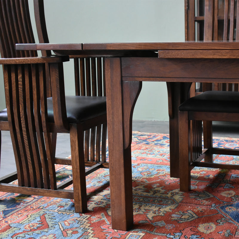 Mission Stow Leaf Table & High Back Chair Dining Set - Dark Oak