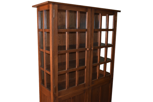"PREORDER Mission Oak 4 Door Display China Cabinet - Walnut - 49""W - Crafters and Weavers"