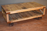 Ventura Solid Wood Industrial Cart Coffee Table