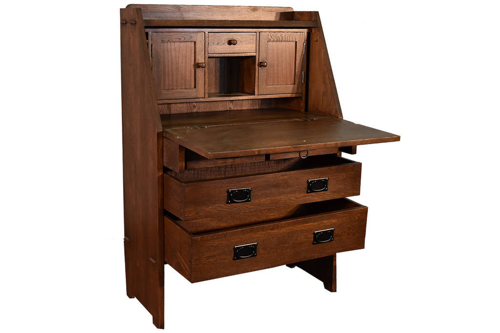 Mission Style Solid Oak Secretary Desk with Drop Leaf Table and Drawers - Crafters and Weavers