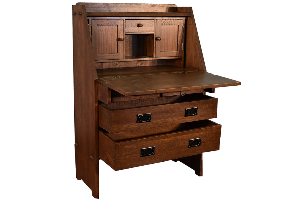 Arts And Crafts Mission Solid Oak Secretary Desk Dark Brown Crafters And Weavers