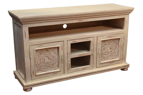 Keystone Carved 52 inch TV Stand - White