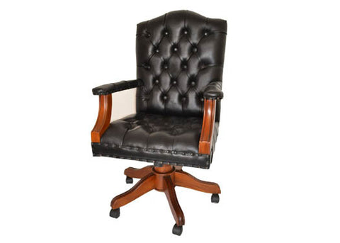 Regal Black Leather Office Chair - Crafters & Weavers - 1