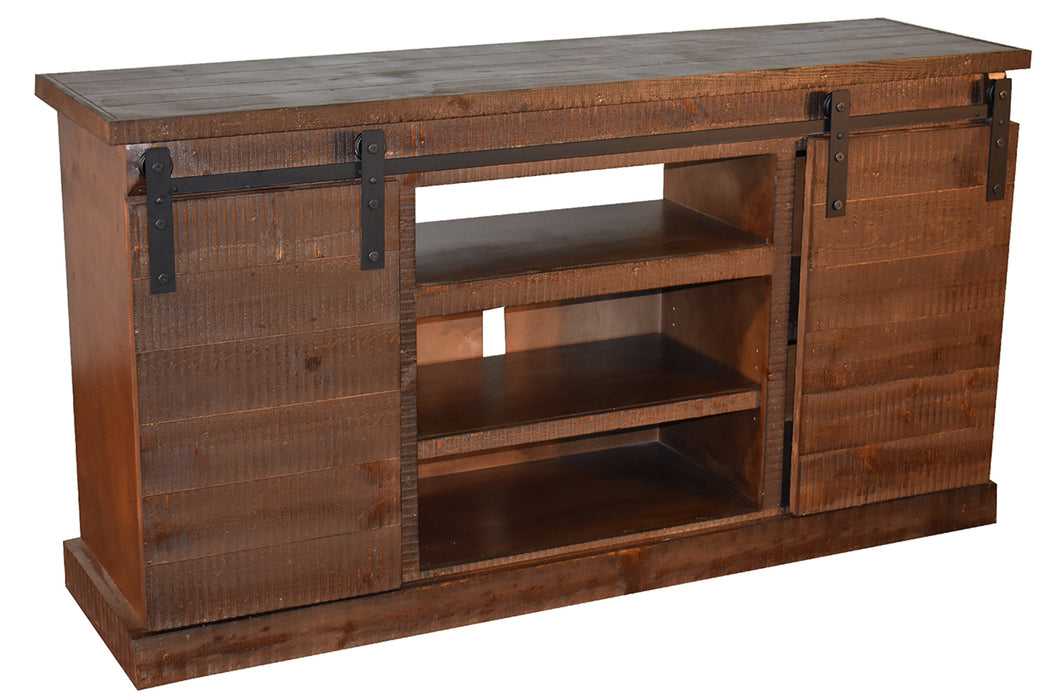 Farmhouse Style Industrial Chic Brown Wood Sliding Barn Door TV Stand - Crafters and Weavers