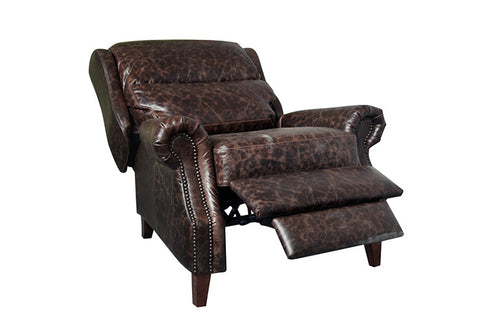 Leather English Rolled Arm Recliner - Dark Brown Leather