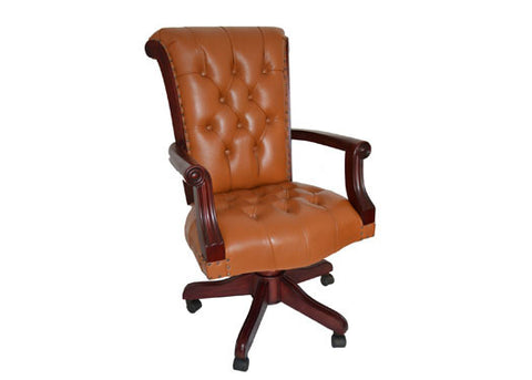 Regal Tan Leather Office Chair with Wood Arms - Crafters & Weavers - 1