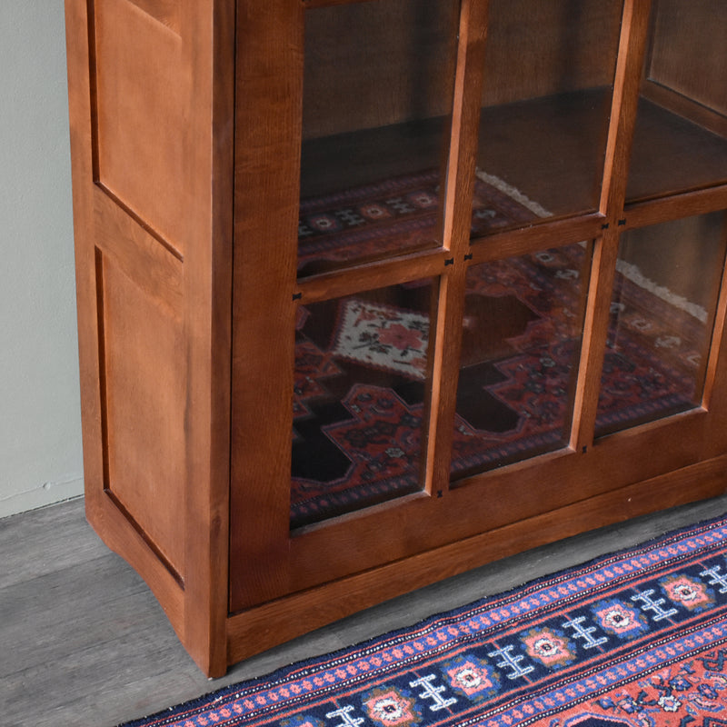 Mission Leaded Glass Bookcase With Lock & Key