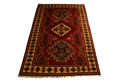 rug3008 4.1 x 6.6 Tribal Kargai Rug - Crafters & Weavers - 1