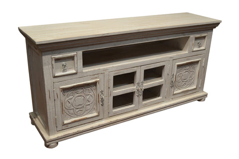 Keystone Carved 65 inch TV Stand - White - Crafters & Weavers - 1