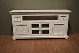 Keystone Carved 65 inch TV Stand - White - Crafters & Weavers - 3