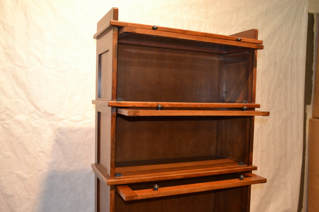 arts crafts mission style stack oak barrister bookcase weavers plans free 4 tier open cherry