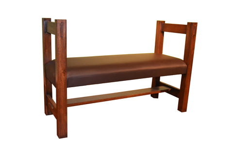 Oak and Leather Upholstered Window Bench - Crafters & Weavers - 1