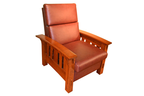 Leather and Oak Reclining Chair - Crafters & Weavers - 1