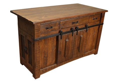 Greenview Kitchen Island - Rustic Brown - Crafters & Weavers - 1