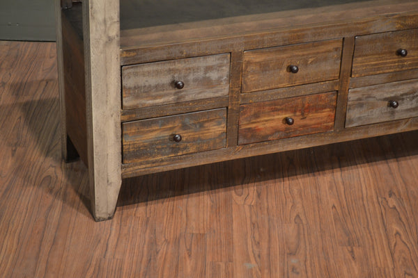 Rustic Solid Reclaimed Wood 8 Drawer Painted Tv Stand
